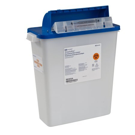 Covidien 8836SA SharpSafety Pharmaceutical Waste Container, Counterbalance Lid, 3 gal Capacity (Pack of 10) by COVIDIEN