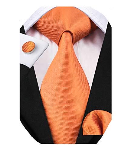 Dubulle Mens Orange Silk Necktie and Hanky Cufflinks Set for Wedding