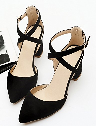 Aisun Women's Chic Pointy Faux Suede Buckle Sandals Black rH9fVJxP