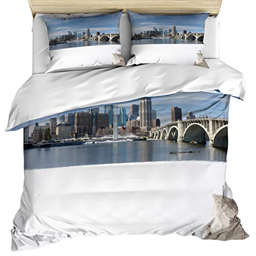 Anzona Luxury Microfiber 3 Piece Bedding Set King Size, Minneapolis Cityscape 3PCS Zippered Soft Duvet Cover Comforter Cover Set with Quilt Cover, Pillow Cases for Kids/Teens/Adults ()