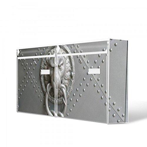 Burg-Wächter Briefkastenanlage, Design Bild Postkasten, Stahlblech weiß, MAIL 5877 W 72x32x10cm mit Motiv Eisentor