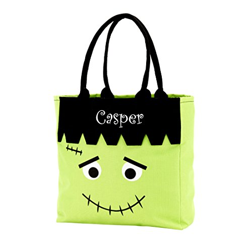 Custom Halloween Tote Bags (Custom Personalized Character Halloween Bag Trick or Treat Tote Storage Frankenstein (Frankenstein - Green - Personalized))