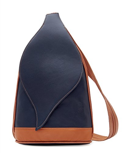 Shoulder Pelle Backpack Retail Italian Vera Tan Navy Soft Handbag Amethyst Leather Bag wFCXqg5g