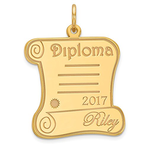 14k Yellow Gold Personalized Graduation Diploma Charm 2019 2020 Pendant Customized from Roy Rose Jewelry 14k Gold Diploma Charm
