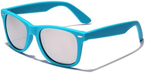 Colorful Retro Fashion Sunglasses - Smooth Matte Finish Frame - Silver Mirror Lens