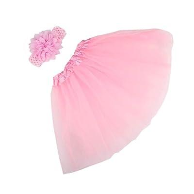 Voberry Baby Girl Chiffon Flower Headband tutu Dress Costume Photo Prop Outfit (Pink): Clothing