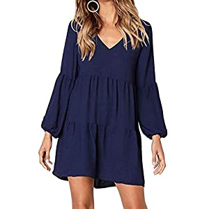 Auifor Women Dresses Casual Fashion Ladies Lantern Long Sleeve V-Neck Solid Colour Dress Daily Beach Dress