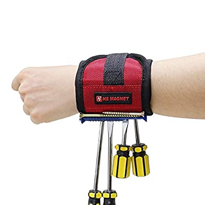 HS Magnet Magnetic Wristband with 6 Super Strong Neodymium Magnets for Holding Screws, Nails, Bolts, Wrenches