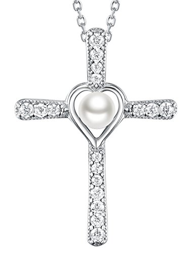 - Love Heart God Cross Pendant White Pearl necklace June Birthstone Jewelry Anniversary Gift Birthday Gifts for Women for and Family Sterling Silver