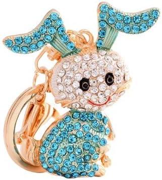 Conejo Llavero de aleación de Diamantes Completo Aleación de Zinc es Durable (Color : Blue)