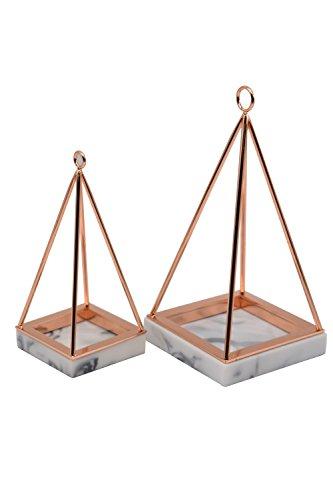Rosa Marble - Jewelry Tree Stand Set of 2 Size Marble Resin & Rose Gold Metal- Bracelet & Necklace Jewelry Organizer Display Tree Rack w/Ring Tray (White Marble1)