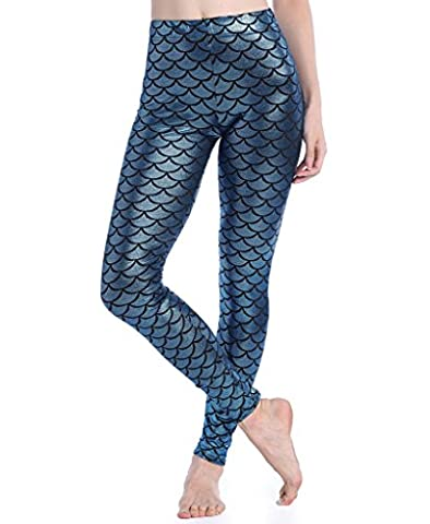 SAYFUT Digital Print Mermaid Fish Scale Stretch Leggings Pant for Women 4XL - Usps Digital Scale