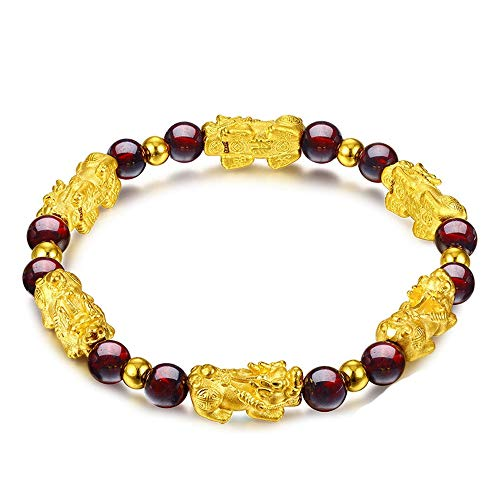 - Feng Shui Amulet Bracelet The Best Porsperity 6mm Red Garnet Bead Bracelet with 6 Gold Plated Pi Xiu/Pi Yao Lucky Wealthy Brecelet