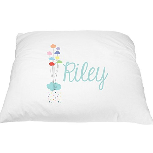 Personalized Bright Rainbow Pillowcase - Rainbow Balloons, Rainbow Rain Cloud, Fun Pillow Cases for Kids, Personalized Pillowcase for Kids, Custom Pillowcase, Microfiber Pillowcase, Standard 20