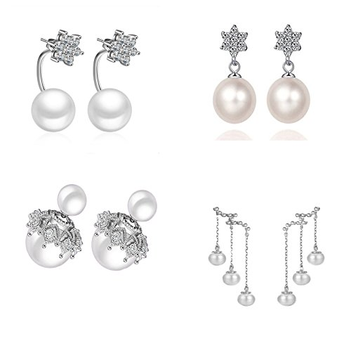 White Pearl Bridal Necklace Earring (925 Silver Earrings Dangle Drop Fish Hook Pearls Studs 4-Set Jewelry for Women Teens Little Girls)
