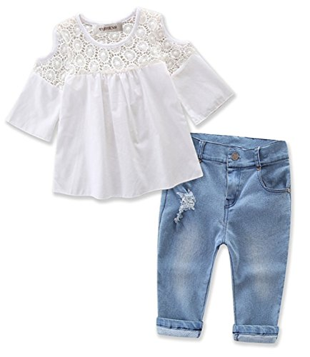 stylesilove Sweet Girl Lace Design Off Shoulder 3/4 Sleeve Blouses and Jeans 2 Pcs Outfit Set (4) by stylesilove