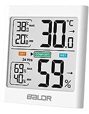 BALDR B0135 Thermomètre hygromètre,Thermomètre intérieur, Hygromètre intérieur,pour thermomètre à hygromètre à Induction,Rétro-éclairage,pour Les Chambres de bébé, Les Chambres, Les Salons, etc.