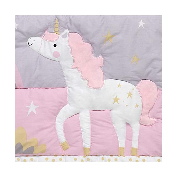 Bedtime Originals Rainbow Unicorn 3-Piece Crib Bedding Set, Purple 5