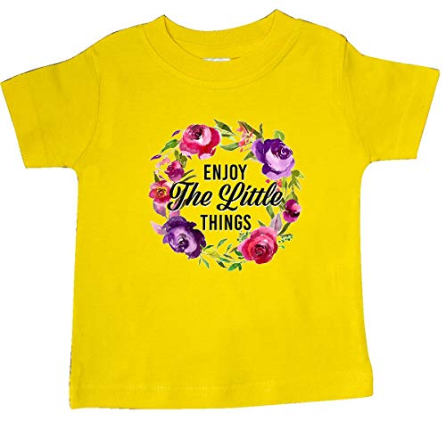 inktastic - Enjoy The Little Things Quote Baby T-Shirt 18 Months Yellow 32d60