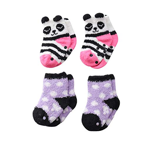 Dot Socks Fuzzy (Beauttable Unisex-Baby Boy Girls Cute Animal Soft Cozy Socks Toddler Anti Skid,Infant Grippy Fluffy Fuzzy Crew Socks 4Pairs Slipper (Panda and Dot, 1-3 T))