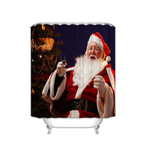 ALDECOR Santa Claus Wine Wallpaper Shower Curtains, Polyester Fabric Waterproof Shower Curtain, Bathroom Accessory Sets, Hooks Included, 48 x 72 inches