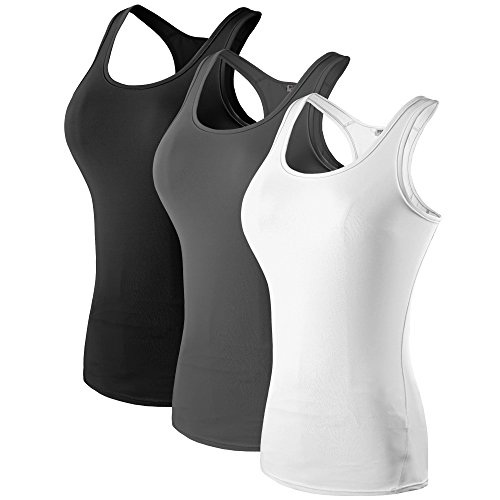 (MAGNIVIT Women's 3 Pack Compression Base Layer Dry Fit Tank Top Black,Gray,White L)