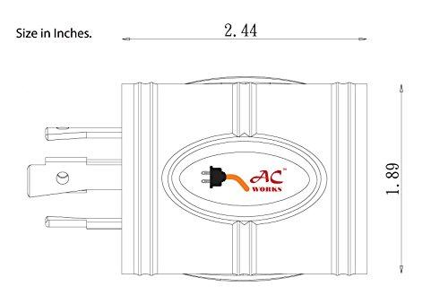 AC WORKS [ADL1430L530] Locking Adapter L14-30P 30A 125/250Volt 4-Prong Male Plug to L5-30R 3-Prong 30A 125Volt Locking Adapter by AC WORKS (Image #4)