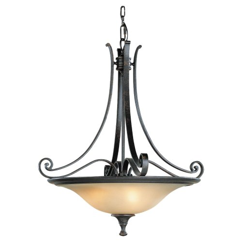 Murray Feiss F1931/3LBR Cervantes Three-Light Uplight Chandelier in Liberty Bronze with Frosted Amber Glass Shades