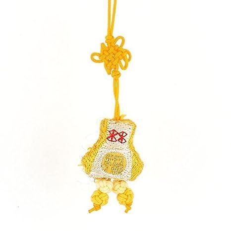 Teléfono amarillo nudo chino bordado FU monedero móvil ...