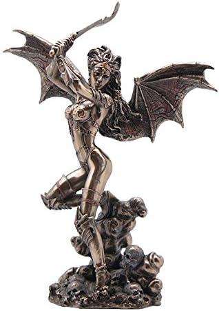XoticBrands Gothic Bat Wing Female Warrior with Scimitar Bronze – Myth Legend Sculpture Figurine