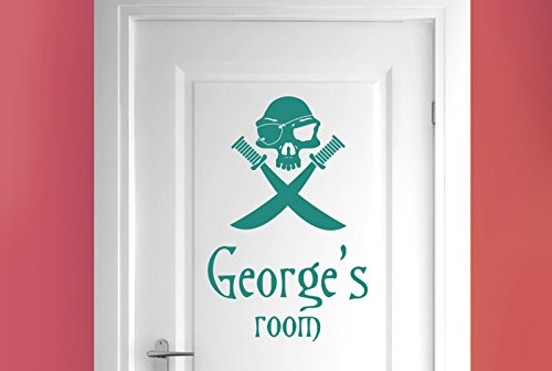 - personalised pirate skull with swords door room stickers art decals - Aqua Green (Height 57cm x Width 38cm)