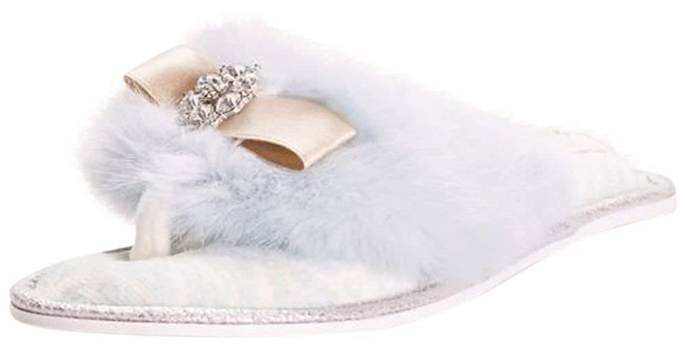 Faux Fur and Crystal Adorned Slipper Style Olivia