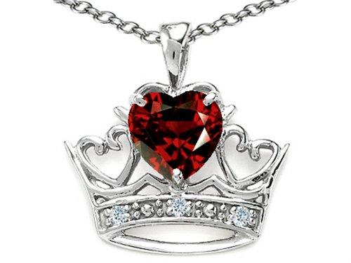 - Tommaso Design Heart Shape 6 mm Genuine Garnet Crown Pendant Necklace 14 kt White Gold