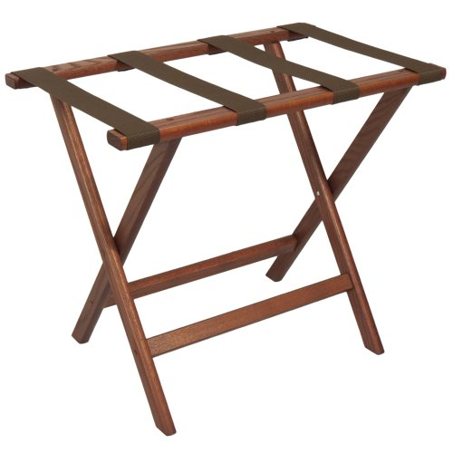 Wooden Mallet Deluxe Straight Leg Luggage Rack, Brown Straps, Mahogany