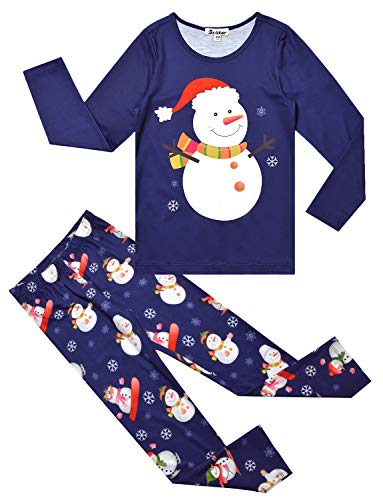 Jxstar Girls Pjs Navy Blue Pajama Sets Cotton Sleepwear Nighty Christmas Costume