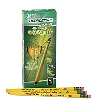 Dixon Ticonderoga Laddie Tri-Write Triangular Shaped Intermediate #2 Pencils Without Erasers, Yellow (13044) (2-Pack of 36)