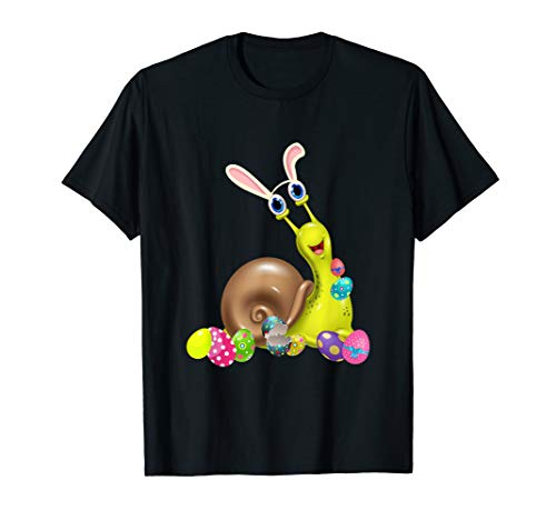 Snail And Bunny Rabbit Hat Easter Eggs Happy Day T Shirt ()
