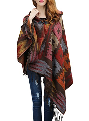 futurino Women's Winter Boho Jacquard Plaid Hooded Poncho Cape Coverup OneSize Bronze (Poncho Ribbed)