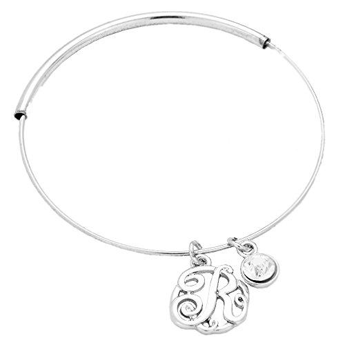 rosemarie-collections-womens-monogram-r-script-design-bangle-bracelet-silver-tone