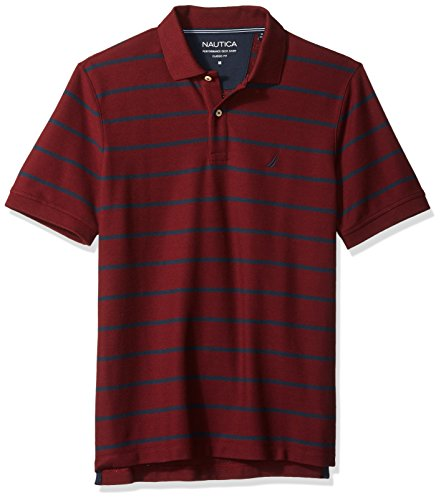 Stripe Classic Shirt Mens (Nautica Men's Classic Short Sleeve Stripe Polo Shirt, Royal Burgundy, X-Large)