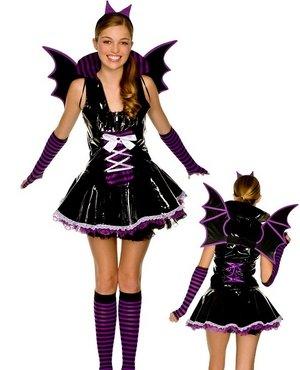 Music Legs Tween Vinyl Vampire Bat Girl Teen Halloween Costume -