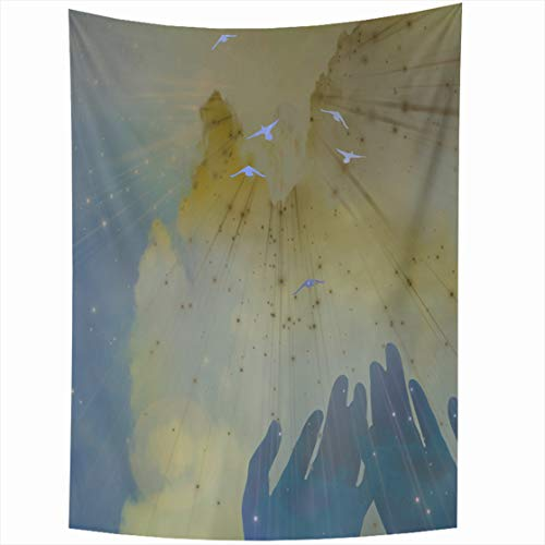 ries 50 x 60 Inches Blue Christian Hands Sky Spiritual God Home Decor Wall Hanging Tapestry Living Room Dorm ()