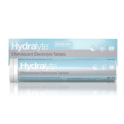 Packets Go Effervescent - Hydralyte - Electrolyte Tablets for On-The-Go Clinical Hydration, Lemonade, 20 Count - Effervescent Tablets Support Recovery of Lost Electrolytes Due to Flu, Exercise, Travel, Extreme Heat or Alcohol