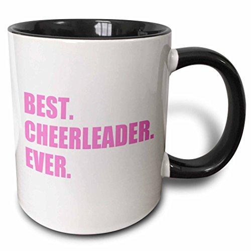 Cheerleader Plate Girl (3dRose 179766_4 Pink Best Ever-Greatest Head Or Team Cheerleading Girl Ceramic Mug, 11 oz, Black/White)