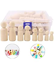 Wooden Peg Dolls Unfinished People,50 Pieces Wooden Decorative DIY Doll People Shapes Nature Wooden for Kids Painting, Craft Art Projects, Peg Game, Decoration Toy,Storage Case in Assorted Sizes