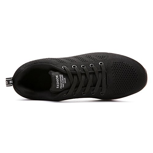 Stq Donna Allacciatura Sneakers Traspiranti Moda Leggera Flyknit Walking Work Out Shoes Black