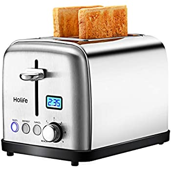 Toaster, HoLife 2 Slice Prime Rated Toasters [LCD Dispaly] Stainless Steel Bagel Toaster (6 Bread Settings, Bagel/Defrost/Reheat Function, 1.5