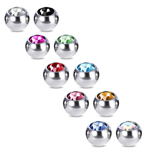 COTTVOTT 10pcs Crystals Screw 14G 16G Tongue Labret Eyebrow Horseshoe Belly Rings Earrings Replacement Balls Stainless Steel Piercings (10pcs 14G 5mm)