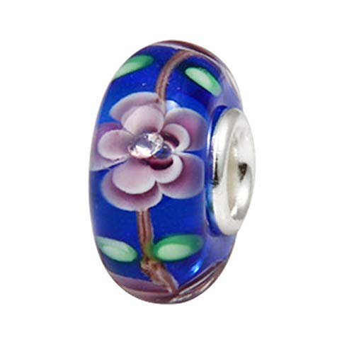 Ollia Jewelry Lampwork Murano Glass Beads Beach Garden Charm with 926 Sterling Silver Core Flower Blossom Charm For Bracelet (Charms Lampwork Glass)