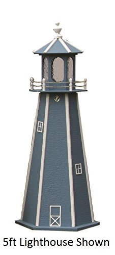Backyard Crafts Amish-Made Lighthouse in Wedgewood Blue with White Trim, 39